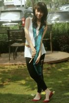 brown belt - black leggings - white top - green scarf - beige top
