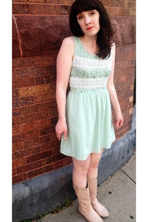 aquamarine Ruche dress - neutral vintage boots