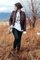 dark brown bomber jacket jacket - dark brown ankle boots boots