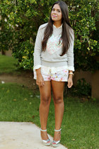 silver Forever 21 sweater - white Zara shorts
