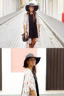 Black-brandy-melville-dress-black-forever-21-hat