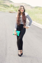 aquamarine Forever 21 purse - navy Forever 21 top - black Zara pants