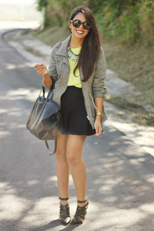 olive green PacSun jacket - chartreuse Forever 21 top - black mermaid Zara skirt