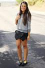 Gray-zara-sweater-black-envelope-sheinside-shorts