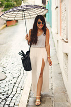 off white with slit Zara skirt - silver Forever 21 top