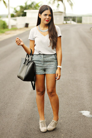 black Zara bag - turquoise blue Forever 21 shorts - silver top