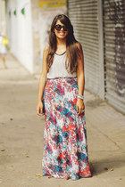 bubble gum maxi floral LA hearts skirt - silver Forever 21 top
