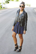 black faux leather H&M jacket - navy tartan Zara skirt - black Shoedazzle wedges
