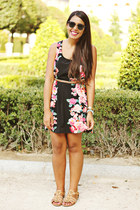 black floral print Forever 21 dress - tan studded Shoedazzle flats