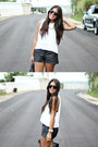 White-brandy-melville-top-black-faux-leather-forever-21-shorts