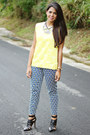 Mustard-zara-top-black-zara-heels-silver-statement-baublebar-necklace