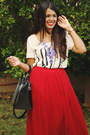 Ruby-red-pleated-maxi-forever-21-skirt-black-zara-bag-ivory-forever-21-top