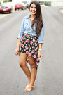 Black-skirt-sky-blue-chambray-charlotte-russe-top