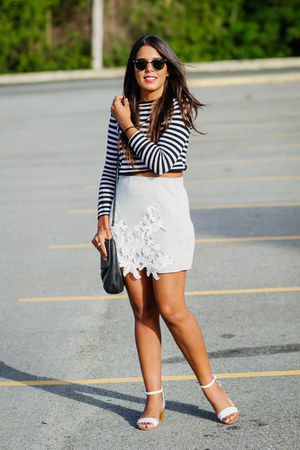 silver lace Zara skirt - black striped Zara top - white Zara sandals