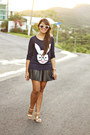 Navy-sweater-black-kendall-and-kylie-collection-skirt