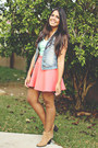 Salmon-skater-forever-21-skirt-blue-denim-forever-21-vest