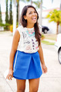 Blue-front-row-shop-skirt