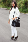 White-zara-sweater-black-zara-bag-black-pointy-zara-heels