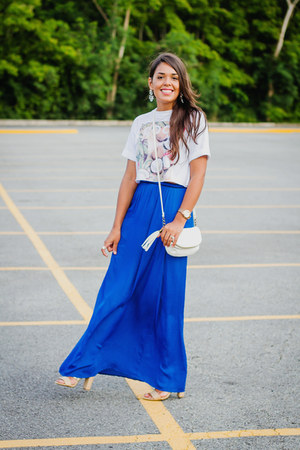 blue maxi Zara skirt