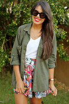 ruby red Zara skirt - black ankle Shoedazzle boots - army green Zara top
