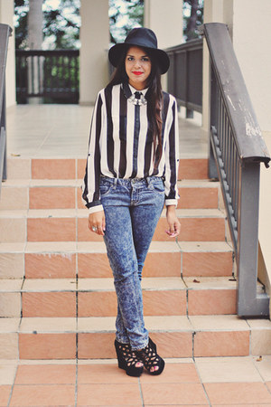 black striped Forever 21 top - navy acid wash Forever 21 pants