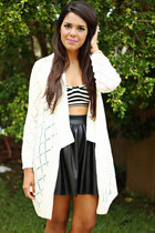 black faux leather skirt - ivory knitted cardigan