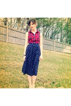 red plaid button up H&M skirt - blue thrift skirt
