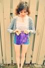 Purple-purse-blue-diy-shorts-heather-gray-h-m-cardigan