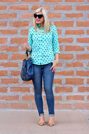 aquamarine polka dots Target top - tan bows Tahari shoes - navy Michael Kors bag