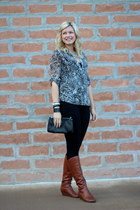 gray leopard kohls top - brown cognac Nordstrom boots - black Macys leggings