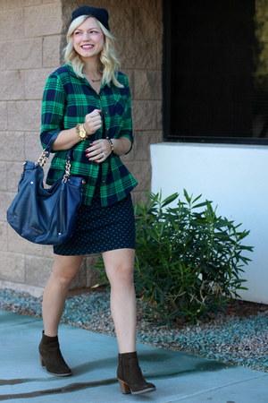 navy polka dots Gap skirt - army green booties Old Navy boots