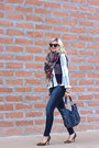 Blue-paige-jeans-red-plaid-target-blazer-neutral-plaid-zara-scarf
