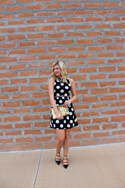 black strappy Zara shoes - black polka dots luluscom dress