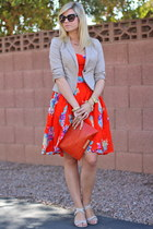 floral print eShakti dress - Local Boutique blazer - clutch Alicia Klein bag