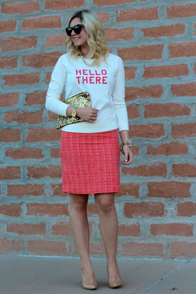 salmon tweed JCrew skirt - off white Old Navy sweater - tan nude Nine West pumps