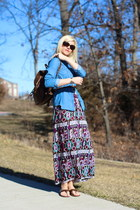 dark brown backpack JC Penney bag - turquoise blue maxi dress Forever 21 dress