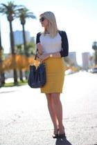 mustard mustard JCrew skirt - ivory Michael Kors bag - brown Nine West heels
