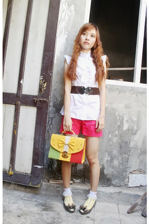 mustard bag - hot pink shorts - eggshell socks - dark brown belt
