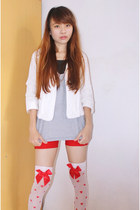 red shorts - ivory top - red stockings