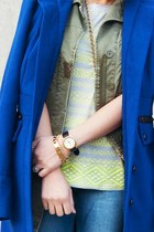 yellow J Crew shoes - blue jack coat - navy Forever 21 jeans