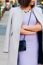 Periwinkle-zara-dress-silver-zara-coat-black-chanel-purse