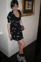 mouse print Jill Stuart dress - Bottega Veneta bag - suede Jeffrey Campbell wedg