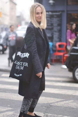black mohair maison martin margiela coat - black canvas weekday bag