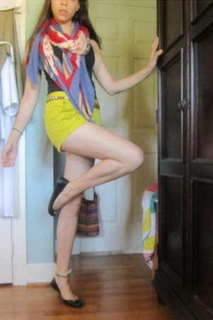 floral print Zara scarf - yellow JCrew shorts - pink top - black coach flats