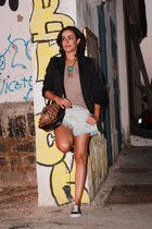 black Forever 21 blazer - brown animal print Luiza Barcellos bag
