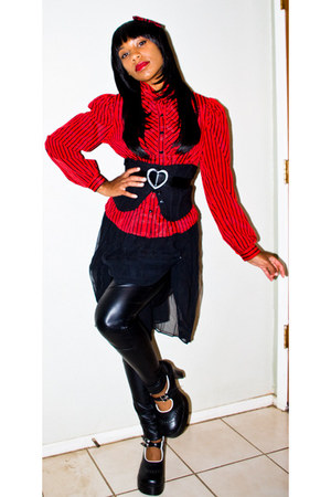 black TUK shoes - black faux leather Mossimo leggings - red thrifted top