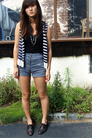 madewell vest - Boyfriends moms shirt - DIY accessories - Era of Chaos shorts -
