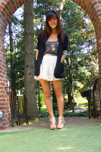 forever 21 skirt - forever 21 necklace - blazer - top - shoes - forever 21 top