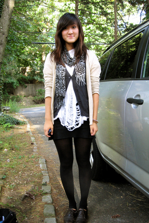 madewell sweater - scarf - DIY t-shirt - Forever 21 vest - American Apparel skir