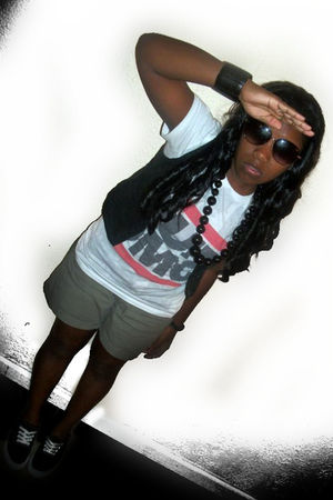 green Express shorts - white Hot Topic shirt - black Levis shoes - delias vest